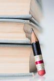 Alte Bücher und kleiner perfekter Bleistift Stockbild