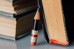 Alte Bücher und kleiner perfekter Bleistift Stockbilder