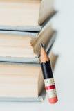 Alte Bücher und kleiner perfekter Bleistift Stockfotografie