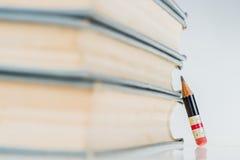 Alte Bücher und kleiner perfekter Bleistift Lizenzfreie Stockfotos