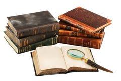Alte Bücher und Lupe Lizenzfreie Stockfotos