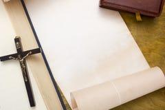Alte Bücher und Manuskripte für Text Stockfoto
