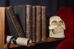 Alte Bücher und Schädel Stockfotos