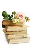 Alte Bücher und stiegen Lizenzfreies Stockfoto