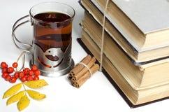 Alte Bücher und Tee mit Zimt im Herbst Stockfotografie