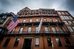 Alte Backsteinbauten auf Park-Straße, in Boston, Massachusetts Lizenzfreie Stockfotos