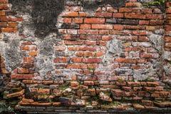 Alte Backsteinmauer in Ayudhaya-Tempel, Thailand Lizenzfreies Stockfoto
