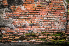 Alte Backsteinmauer in Ayudhaya-Tempel, Thailand Lizenzfreies Stockbild