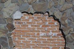 Alte Backsteinmauer: Beschaffenheit der Weinlesemaurerarbeit - Steinziegelstein Lizenzfreies Stockfoto
