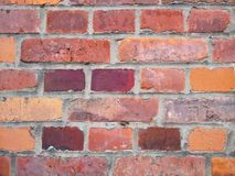 Alte Backsteinmauer, alte Beschaffenheit des roten Steins blockiert Nahaufnahme Stockbilder