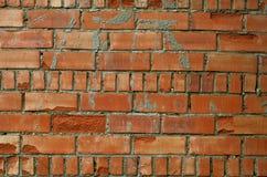 Alte Backsteinmauer, alte Beschaffenheit des roten Steins blockiert Nahaufnahme, Dachbodenst. Stockbilder