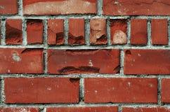Alte Backsteinmauer, alte Beschaffenheit des roten Steins blockiert Nahaufnahme, Dachbodenst. Lizenzfreie Stockbilder