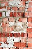 Alte Backsteinmauer, alte Beschaffenheit des roten Steins blockiert Nahaufnahme, Dachbodenst. Lizenzfreie Stockfotos