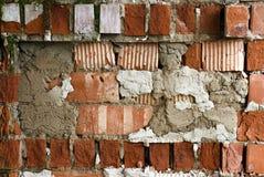 Alte Backsteinmauer, alte Beschaffenheit des roten Steins blockiert Nahaufnahme, Dachbodenst. Lizenzfreies Stockfoto