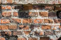 Alte Backsteinmauer des Hintergrundes des roten Backsteins mit schwarzen Flecken Stockfoto