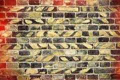 Alte Backsteinmauer für des Hintergrundes, Gelber und Schwarzer Farbe der Beschaffenheit oder Lizenzfreie Stockfotografie
