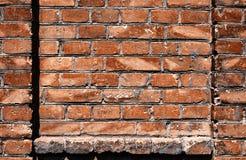 Alte Backsteinmauer für des Hintergrundes, Roter und Brauner Farbe der Beschaffenheit oder, Bauelemente als Ziegelstein füllte Ra Lizenzfreies Stockfoto