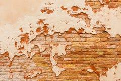 Alte Backsteinmauer gebrochener Gips Lizenzfreie Stockfotos