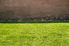 Alte Backsteinmauer im Schatten und Rasen mit grünem Gras in der Sonne Lizenzfreies Stockfoto