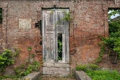Alte Backsteinmauer mit einer alten Tür und Wachstum Stockbild