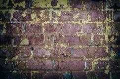 Alte Backsteinmauer mit einer Schalenfarbe Stockfotos
