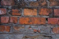 Alte Backsteinmauer mit Gips und Abziehbild Lizenzfreie Stockfotos