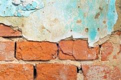 Alte Backsteinmauer mit Gipshintergrund Lizenzfreies Stockfoto
