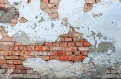 Alte Backsteinmauer mit Schalengips Stockfotos