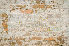 Alte Backsteinmauer mit Schalenlack Stockbilder