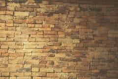 Alte Backsteinmauer mit Sonnenblendeweinlese Stockfotos