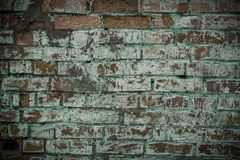 Alte Backsteinmauer mit Spuren der grünen Farbe Lizenzfreie Stockfotos