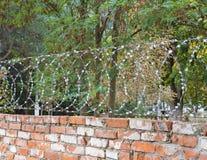 Alte Backsteinmauer mit Stacheldraht Lizenzfreies Stockbild