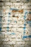 Alte Backsteinmauer mit weißem Farbenhintergrund-Beschaffenheitsabschluß oben Stockfotos