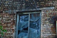 Alte Backsteinmauer mit zerbrochener Fensterscheibe Stockfotos