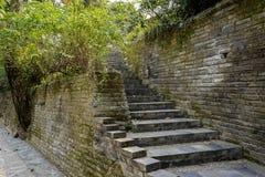 Alte Backsteinmauer und Schritte im Frühjahr, Chengdu Lizenzfreie Stockbilder
