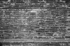 Alte Backsteinmauerbeschaffenheit auf Schwarzweiss-Hintergrund Stockfotografie