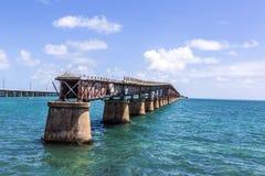 Alte Bahia Honda Rail Bridge, Bahia Bay State Park, Florida-Schlüssel Lizenzfreie Stockfotografie