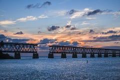 Alte Bahnbrücke an Florida-Schlüsseln Lizenzfreie Stockfotos