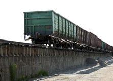 Alte Bahnfrachtlastwagen stockfoto