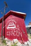 Alte Bahnstation bei Puente Del Inca, Argentinien Lizenzfreie Stockfotos