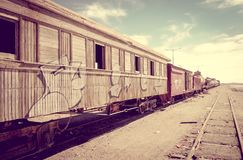 Alte Bahnstation in Bolivien-Wüste Stockfotografie