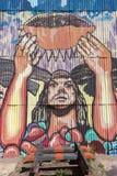 Alte Bahnstation und Inkagraffiti bei Puente Del Inca, Argentinien Stockfotos