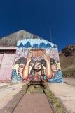 Alte Bahnstation und Inkagraffiti bei Puente Del Inca, Argentinien Lizenzfreies Stockbild