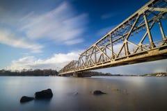 Alte Bahnzugbrücke auf der Oder in Szczecin Lizenzfreie Stockbilder