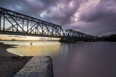 Alte Bahnzugbrücke auf der Oder in Szczecin Lizenzfreie Stockfotos