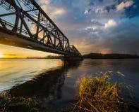 Alte Bahnzugbrücke auf der Oder in Szczecin Lizenzfreies Stockfoto