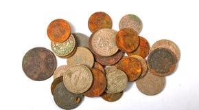 Alte Balkan zerstreute Münzen Stockfoto