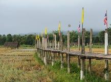 Alte Bambusansicht der brücke morgens Stockfoto
