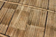 Alte Bambuswand Und Bodenholz Lizenzfreies Stockfoto