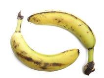 Alte Bananen über Weiß Lizenzfreies Stockbild